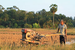 Khunpepe033. Nakhon Si Thammarat, Thailand - FEBRUARY 18, 2011 : Unidentified farmer plows the paddy field using tiller tractor to prepare the soil before the Royalty Free Stock Photography