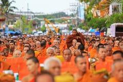 Khunpepe042. NAKHON SI THAMMARAT, THAILAND - JULY 2 : Hundreds of Buddhist monks gather to celebrate of Buddha Jayanti, 2,600 years of the Buddha's Royalty Free Stock Photo