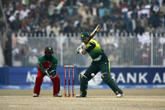 Khurram Manzoor. Pakistani Player Younis Khan Plays a shot against Zimbabwe Royalty Free Stock Photography