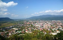 Khust von der Höhe des Schlossberges Lizenzfreies Stockfoto