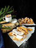 Khvorost cookies. Homemade khvorost cookies covered with sugar powder stock photos