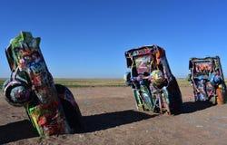 Kiść Malujący Cadillacs w Amarillo Teksas na Rte 66 Zdjęcia Stock
