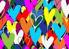 Kiści farby serc kolorowy wzór Obrazy Stock