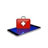 Ki de los primeros auxilios del rojo en el smartphone, ejemplo del teléfono celular Fotografía de archivo libre de regalías