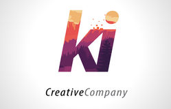 KI K I Letter Logo Design with Purple Forest Texture Flat Vector Royalty Free Stock Photos