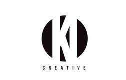 KI K I White Letter Logo Design with Circle Background. Royalty Free Stock Images