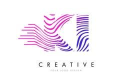 KI K I Zebra Lines Letter Logo Design with Magenta Colors Royalty Free Stock Photo