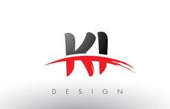 KI K je balaye Logo Letters avec l'avant de brosse de bruissement de rouge et de noir illustration de vecteur