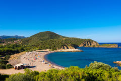 Kia Beach in Sardegna. SARDEGNA, ITALY. JULY 2015. One of famous Kia beaches with white sand and crystall clear water stock images