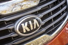 KIA car emblem. KIA car emblem on radiator grille royalty free stock image
