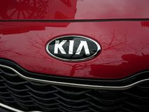 Kia car logo. Berlin, Germany - December 6, 2017: Kia car logo. Kia Motor Corporation headquartered in Seoul, is South Korea`s second-largest automobile royalty free stock photography