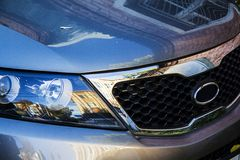 Kia front. Closeup of kia front light Royalty Free Stock Image