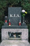 KIA killed in action. KIA / killed in action - Grave of dead soldier. Combatand died in military war. Gravestone, tombstone and headstone, urn, flowers and stock images