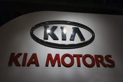 KIA Logo Sign. HOUSTON - JANUARY 2012: The KIA logo sign at the Houston International Auto Show on January 28, 2012 in Houston, Texas Royalty Free Stock Photos