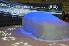 KIA Quoris new car model before start of presentat Stock Photos