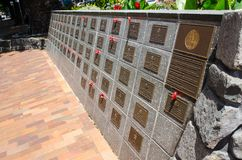 Gordon Grellman Wall of Remembrance commemorates servicemen and servicewomen who have served in the various conflicts. KIAMA, AUSTRALIA. – On December 7 stock photography