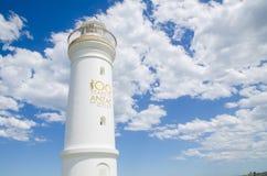 Kiama-Hafen-Licht, ist ein aktiver Leuchtturm, sich befindet nah an dem Luftloch-Punkt Das Bild wurde bewölkter Tag eingelassen lizenzfreies stockfoto