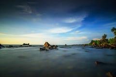 Kiamsam海滩秀丽是空前的,纳闽海岛  库存图片