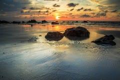 Kiamsam海滩秀丽是空前的,纳闽海岛  免版税库存照片