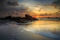 Kiamsam海滩秀丽是空前的,纳闽海岛  免版税图库摄影