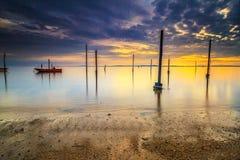 Kiamsam海滩秀丽是空前的,纳闽海岛  库存照片