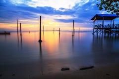 Kiamsam海滩秀丽是空前的,纳闽海岛  图库摄影