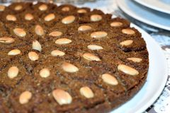 Kibbeh arabic dish[1] made of bulgur, minced onions, and finely ground lean beef, lamb, goat, or camel meat stock photo