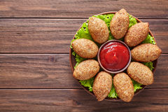 Kibbeh homemade beef, lamb, goat or camel meat stuffed bulgur kofta spicy meatball Royalty Free Stock Image