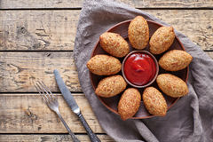 Kibbeh traditional middle eastern arabic lamb meat and bulgur kofta meatball croquettes Stock Images