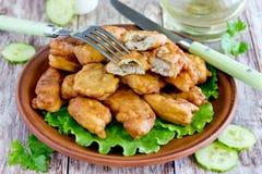 Kibbeling - pedazos estropeados fritos de los pescados Foto de archivo libre de regalías