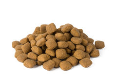 Kibble. Dog food on white background stock images