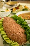 Kibe raw arabic tradition. Cuisine lebanese food Royalty Free Stock Image