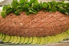 Kibe raw arabic tradition. Cuisine lebanese food Stock Photography