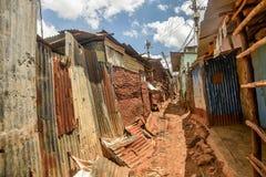 Kibera slum in Nairobi, Kenya. Royalty Free Stock Images