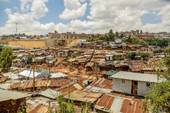 Kibera slum in Nairobi, Kenya. Nairobi, Kenya- March 5,2016:Houses in Kibera slum in Nairobi, Kenya Stock Photo