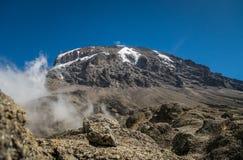 Kibo peak in Mount Kilimanjaro, Tanzania Royalty Free Stock Photos