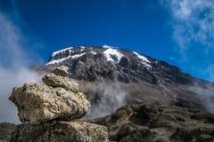 Kibo peak in Mount Kilimanjaro, Tanzania Royalty Free Stock Photography