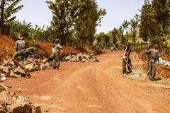 KIBUYE RWANDA, AFRÄ°CA - SEPTEMBER 11, 2015: Oidentifierade arbetare Arbetarna som arbetar under solen Royaltyfria Bilder