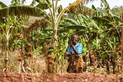 KIBUYE, RWANDA, AFRİCA - SEPTEMBER 11, 2015: Unidentified woman. Royalty Free Stock Images