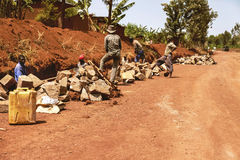 KIBUYE, RWANDA, AFRİCA - SEPTEMBER 11, 2015: Unidentified workers. Red earth land and the African workers. Stock Images