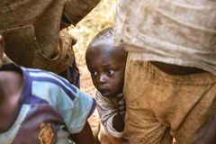 KIBUYE, RWANDA, AFRICA - SEPTEMBER 11, 2015: Unknown children. Stock Photo