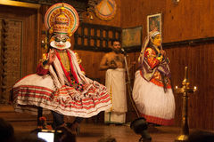 Kichaka Vadham in Kathakali theater. Classical Indian dance-drama theater. Kochi (Cochin), Kerala, India Stock Photo