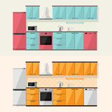 Kichen. Kitchen interior and house appliances: microwave, refrigerator, gas stove, dishwasher, cooker hood, flat style illustration vector illustration
