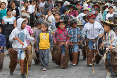 Kichwa indigenous children wearing chaps Royalty Free Stock Photography