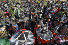 Kichwa men at Inti Raymi celebration Stock Photo