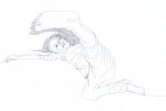 Kick. Coaching a little girl on her bed aikido. Pencil drawing Stock Image