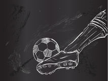 Kick Ball Sketch Vector. Digital art Stock Images