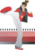 Kick-box. The girl athlete Stock Photo