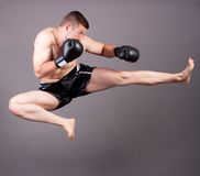 Kick-boxer. Training before fight Royalty Free Stock Photo