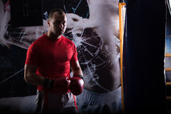 Kick boxer boxing as exercise for the big fight. Boxer hits punching bag. Young boxer trains on punching bag Royalty Free Stock Photos